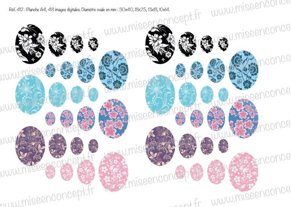 48 images digitales - fleurs - ovale - images cabochons - nature - floral - bijoux