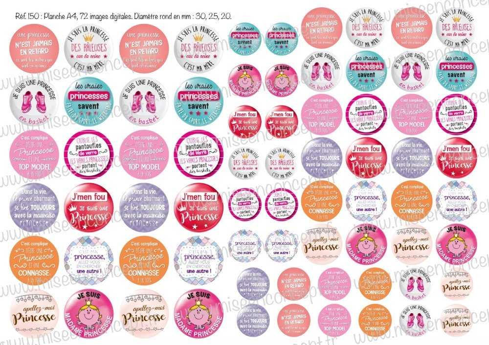 72 images digitales - les vraies princesses... - Rond - images cabochons - licorne - bijoux - porte-clés