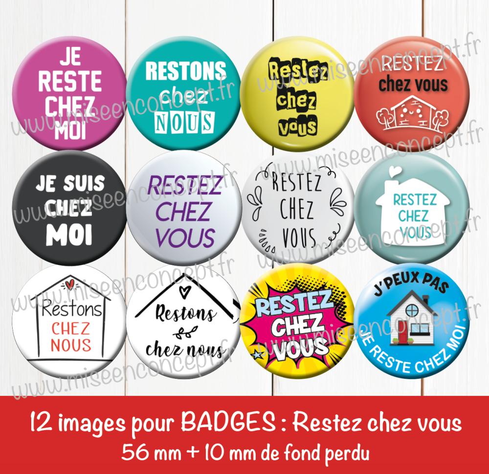 12 images digitales pour badges - 56 + 10 mm - restez chez vous - covid 19 - coronavirus