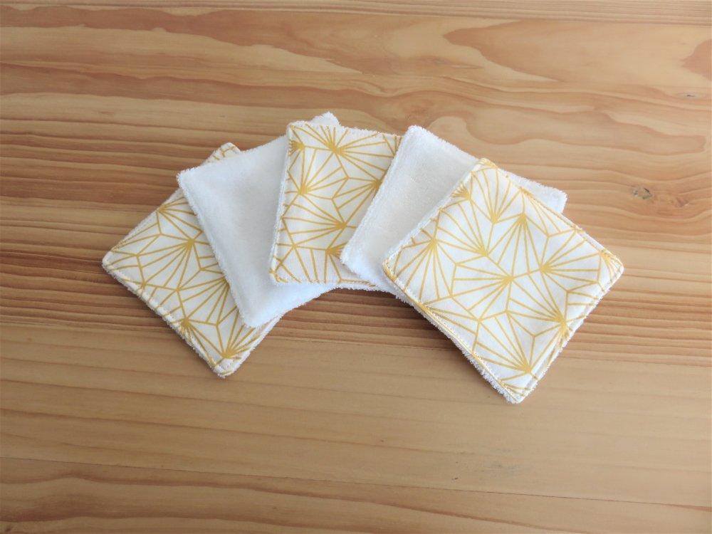 Lingettes lavables tissu oeko-tex X 5, cotons démaquillants, débarbouillette. Cadeau zéro déchet,