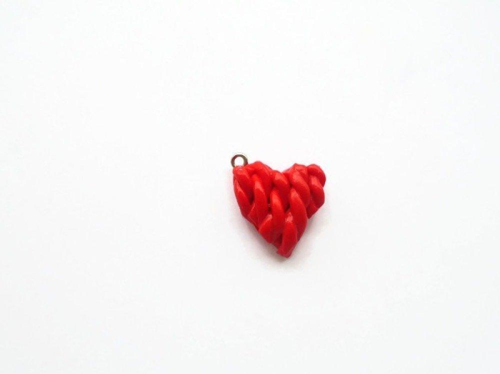 cœur tressé rouge fimo