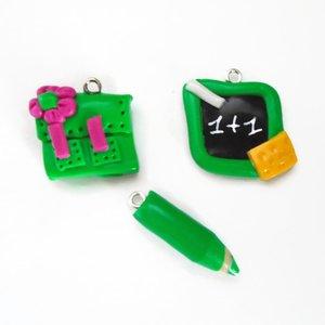 ardoise cartable crayon fimo orange et vert