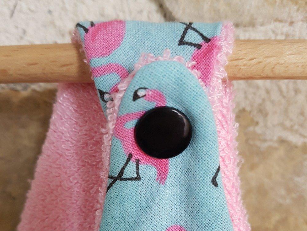 Bavoir bandana bébé motif flamands roses