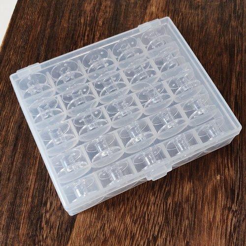 Boite à canettes pleine  machine à coudre 25 canettes plastique accessoires couture bobine fils mercerie miss perles fabrik