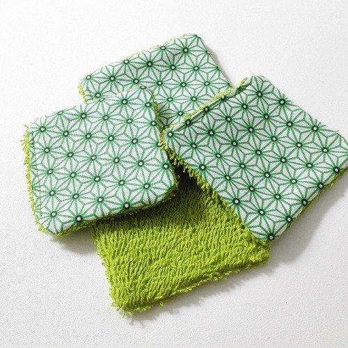 Lingettes lavables coton vert motifs geometriques japonais homme femme bebe