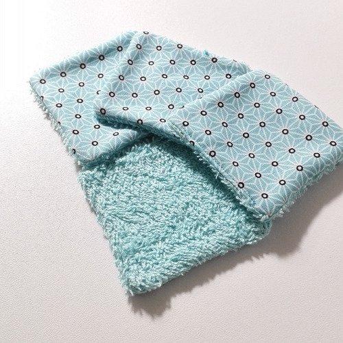 Lingettes lavables coton bleu motifs geometriques japonais homme femme bebe