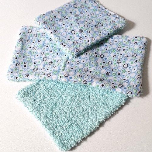 Lingettes lavables coton bleu motifs geometriques homme femme bebe