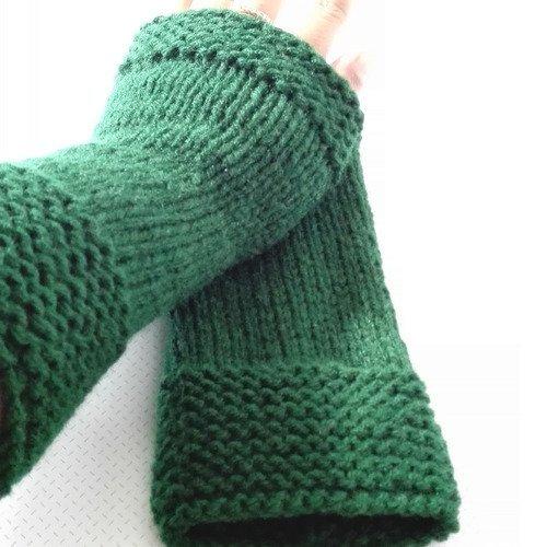 Mitaine manchette longue laine vert outlander ecosse claire sassenach idée cadeau femme