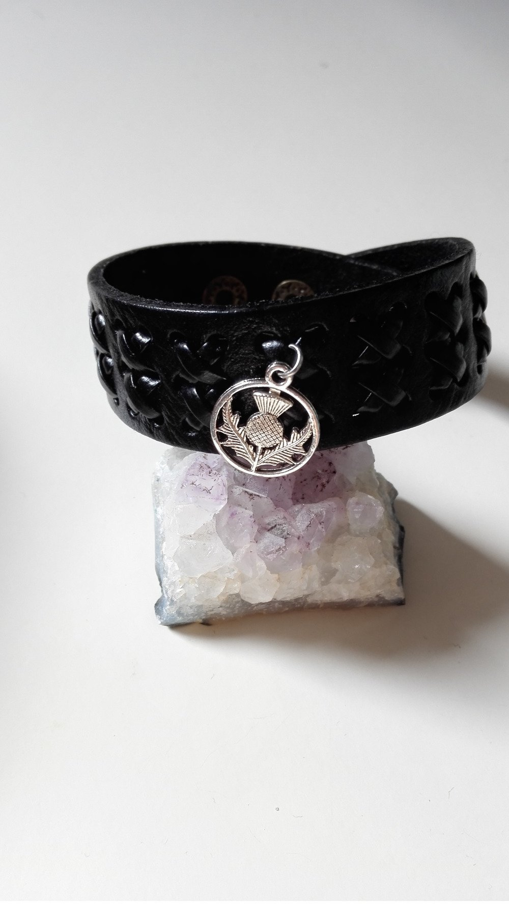 Bracelet celtique Outlander cuir noir argenté manchette Clan Fraser idée cadeau homme