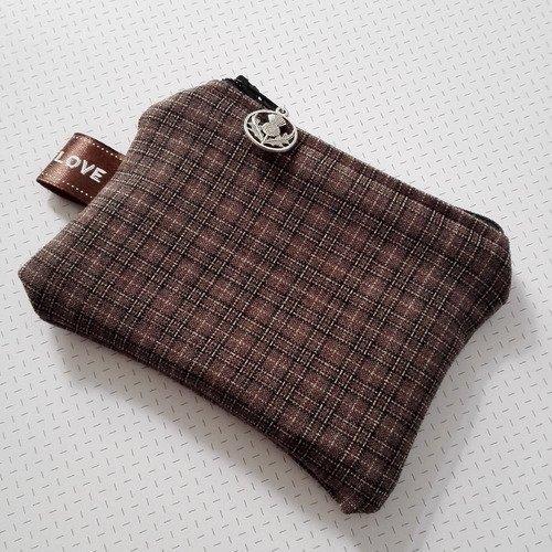 Porte monnaie outlander sassenach tissu tartan écossais chardon argenté marron féérique idée cadeau miss perles