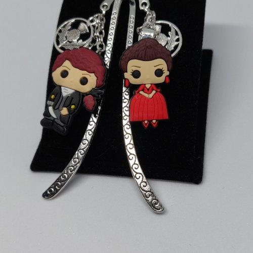 Marque page outlander duo jamie sassenach robe rouge paris argenté féérique clan fraser ecosse idée cadeau miss perles