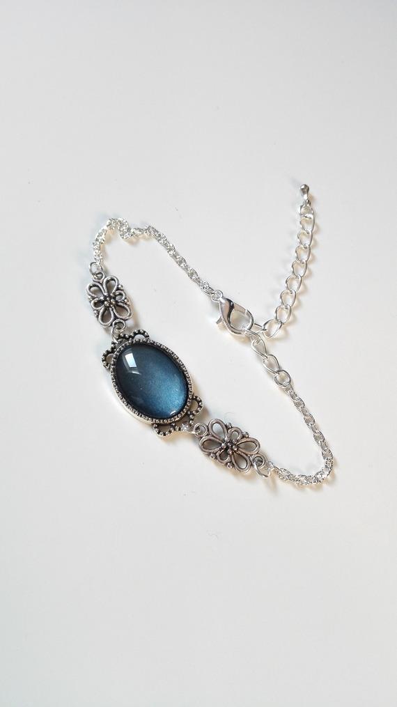 Bracelet royal noeuds celtiques cabochon bleu argenté féérique idée cadeau femme Miss Perles