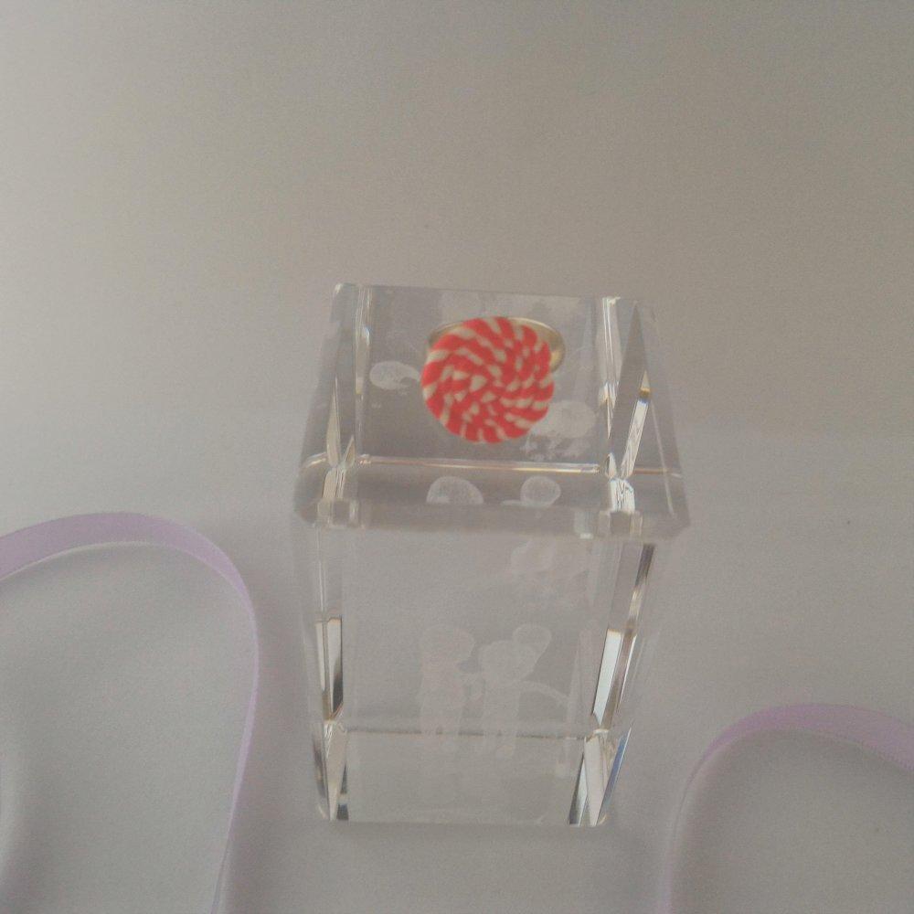 Bague lollipop rouge et blanc Fête Cadeau Original Décoration fimo Bijoux Fantaisie Gourmand Polymère