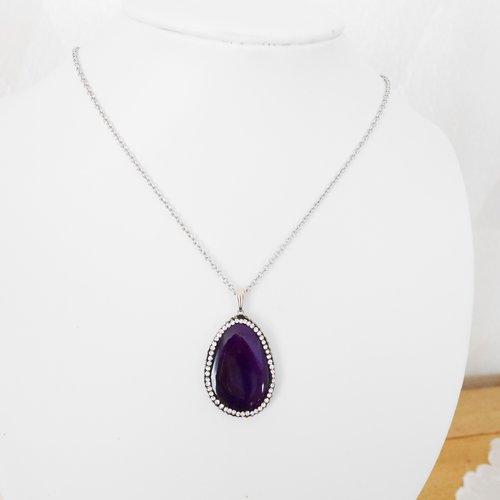 Collier pendentif acier inox et agate violet