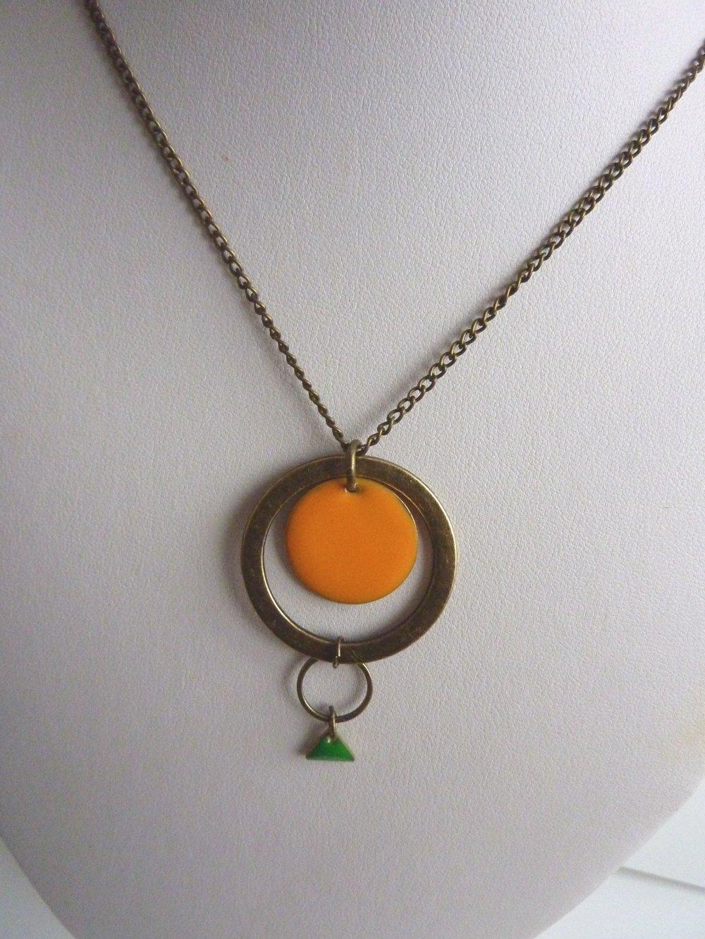 collier mi long graphique bronze, orange et vert