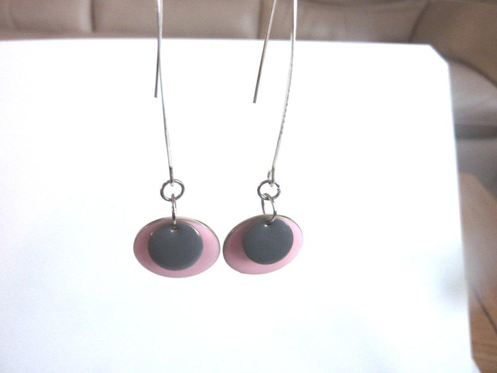 boucles d'oreille rose et gris
