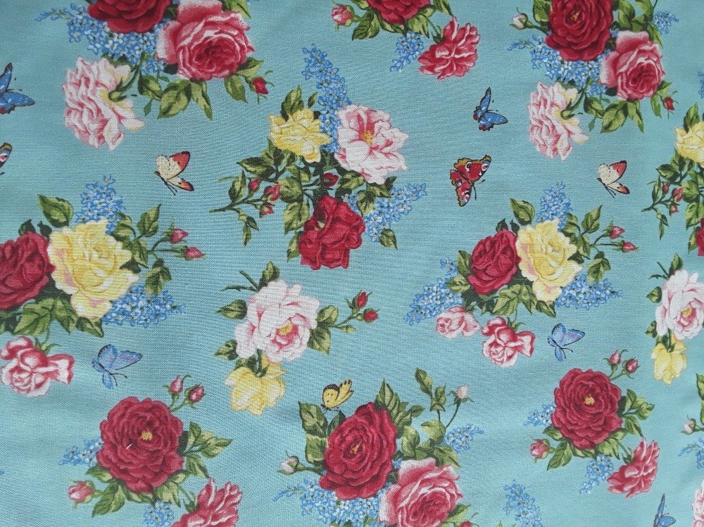 Coton qualité patchwork - Collection makover special roses vintage - 25 cm x 110 cm