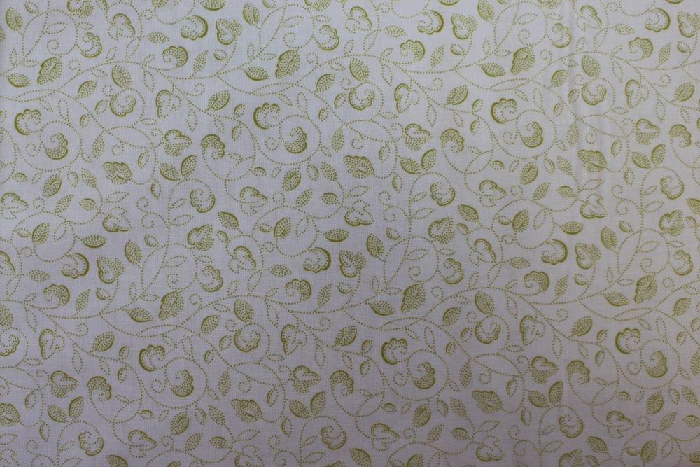 Tissu Coton qualité patchwork - Collection makover Monsoon - Dotty Scroll Vert - 25 cm x 110 cm