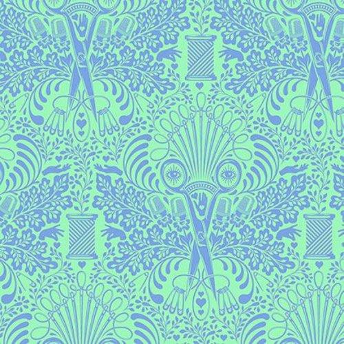 Coton Tissu FQ Quilting maison par Tula Rose Getting brusque midi bleu vert