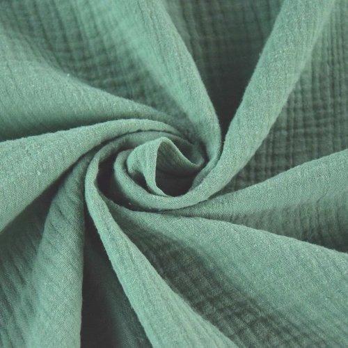 Tissu double gaze de coton - vert d'eau - 25 cm