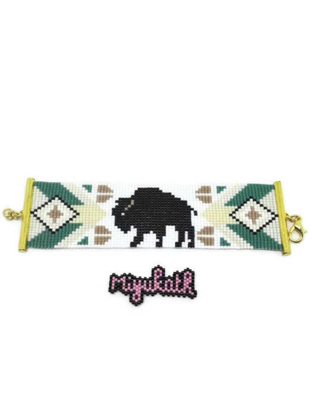 Bracelet manchette tissé perles Miyuki - the buffalo