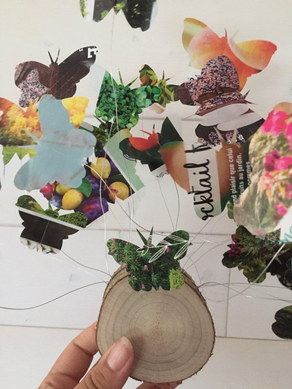 Déco Rondelle de bois et papillons papier