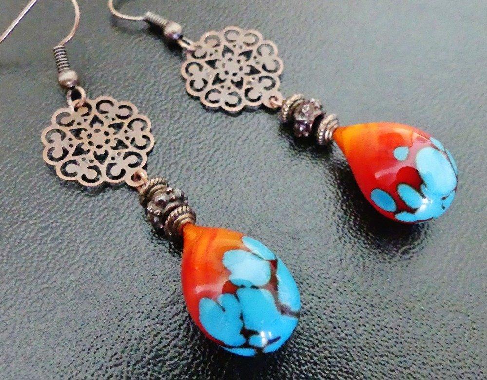 Boucles d'oreille gouttes vénitiennes, verre filé à la main, Murano rouge et bleu