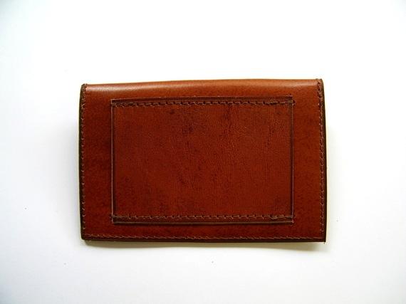 Porte-cartes de crédit  en cuir marron et noir