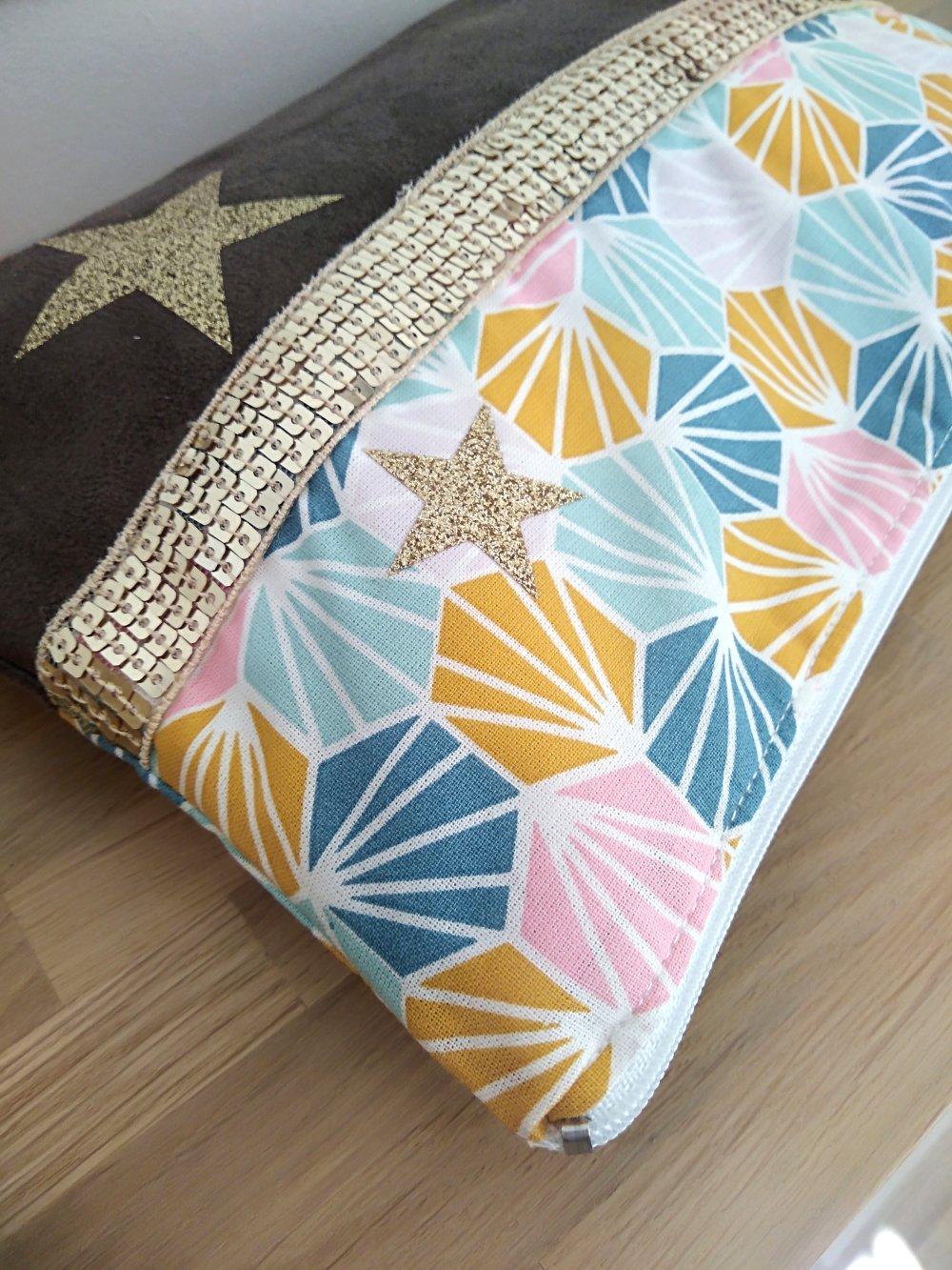 Pochette multi-usage/maquillage suédine coton origami multicolore