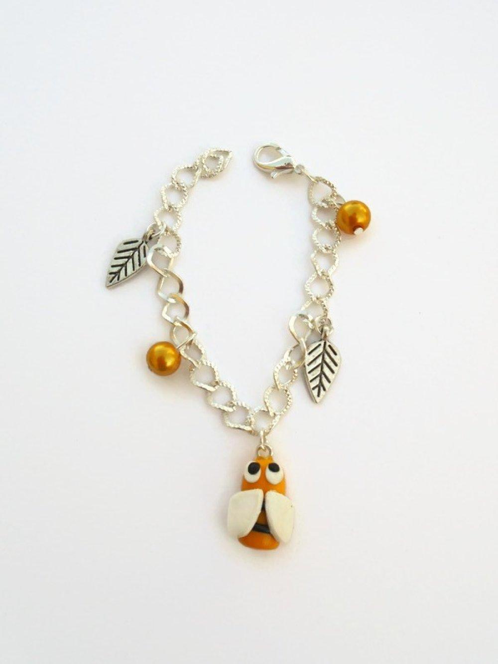 bracelet abeille et feuille fimo