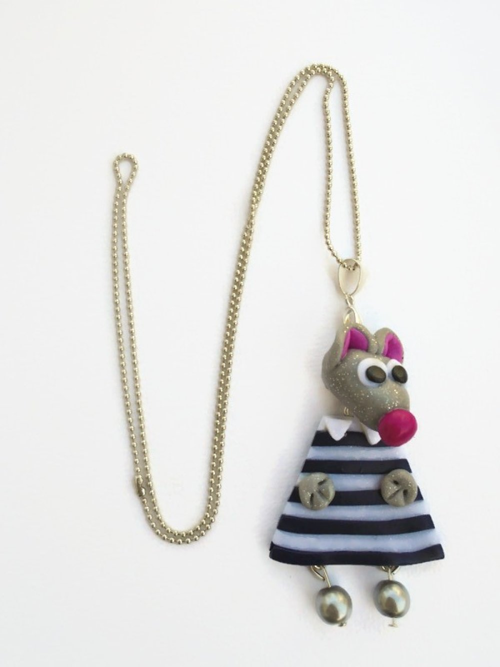 Collier Mme Souris fimo