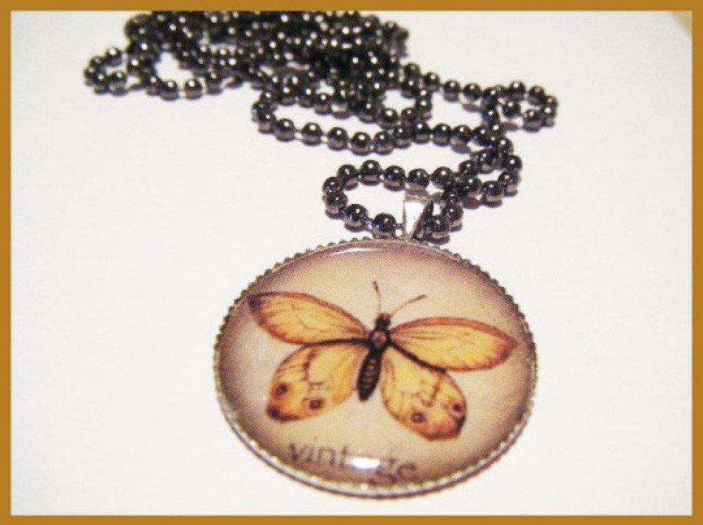 Collier sautoir cabochon vintage papillon - chaine à bille