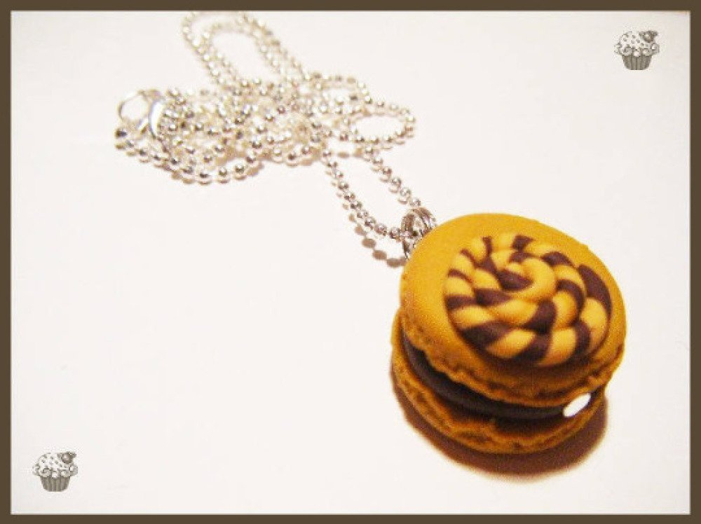 Collier macaron sucette fimo pâte polymère