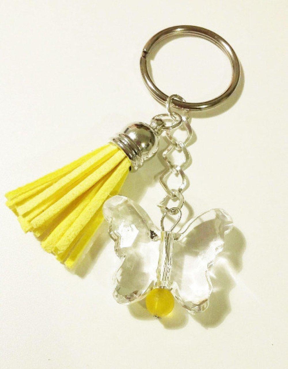 Porte-clé ou bijou de sac - pompon jaune et perle papillon
