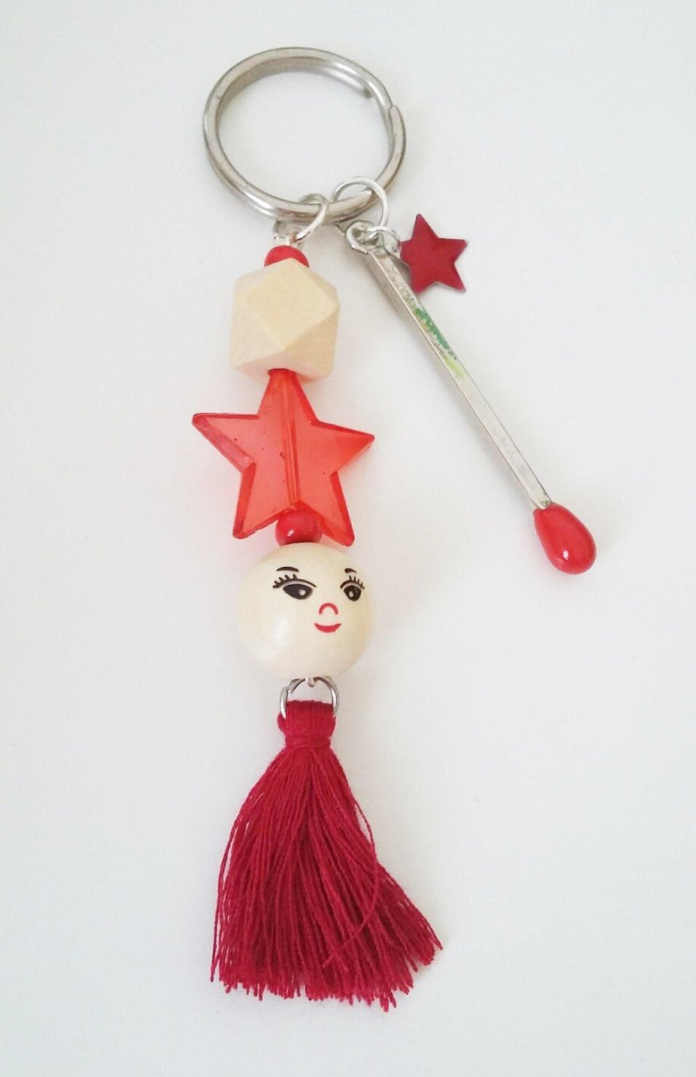 Porte-clé ou bijou de sac - tons rouge et bois