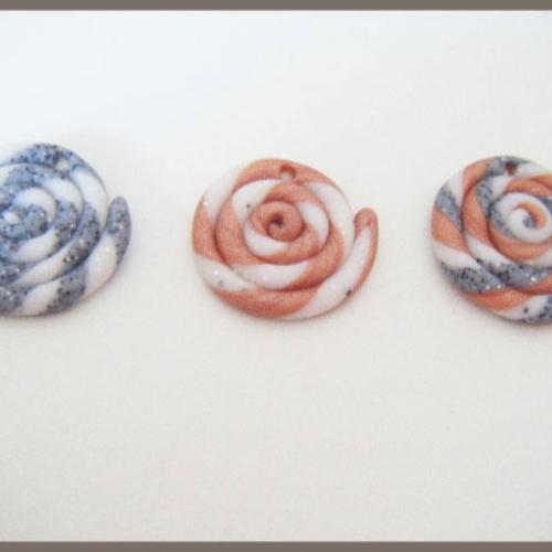 3 perles spirales en fimo pâte polymère