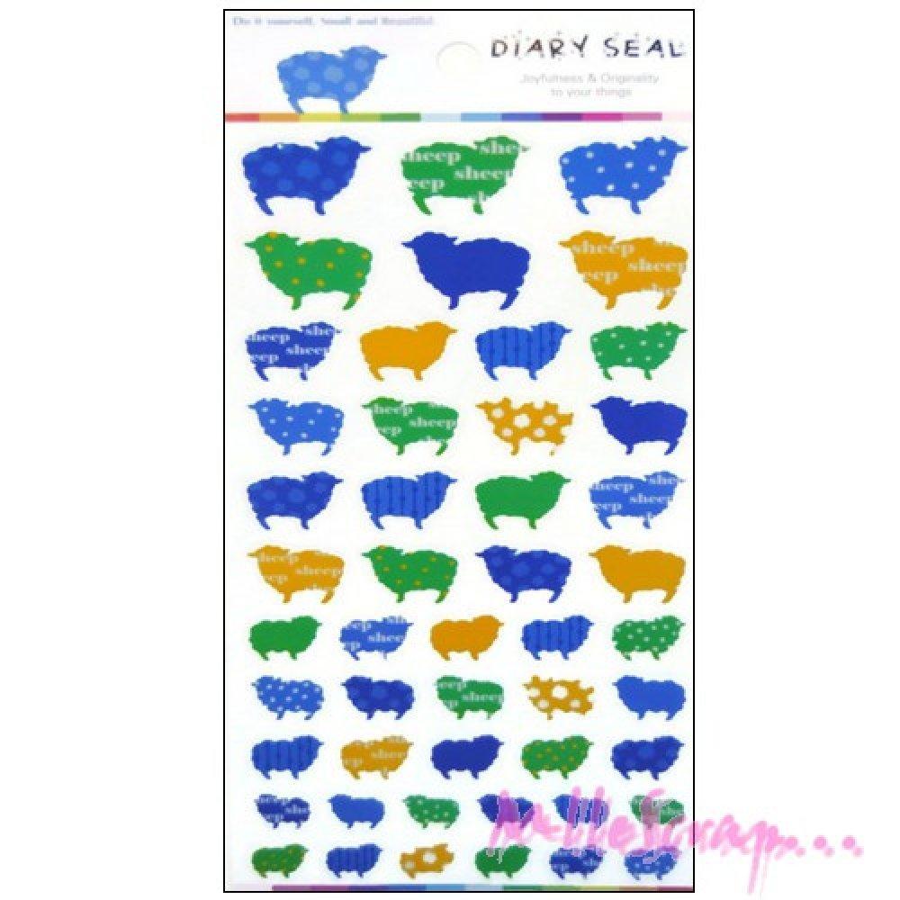 *Stickers autocollants plastifiés moutons scrapbooking carterie *