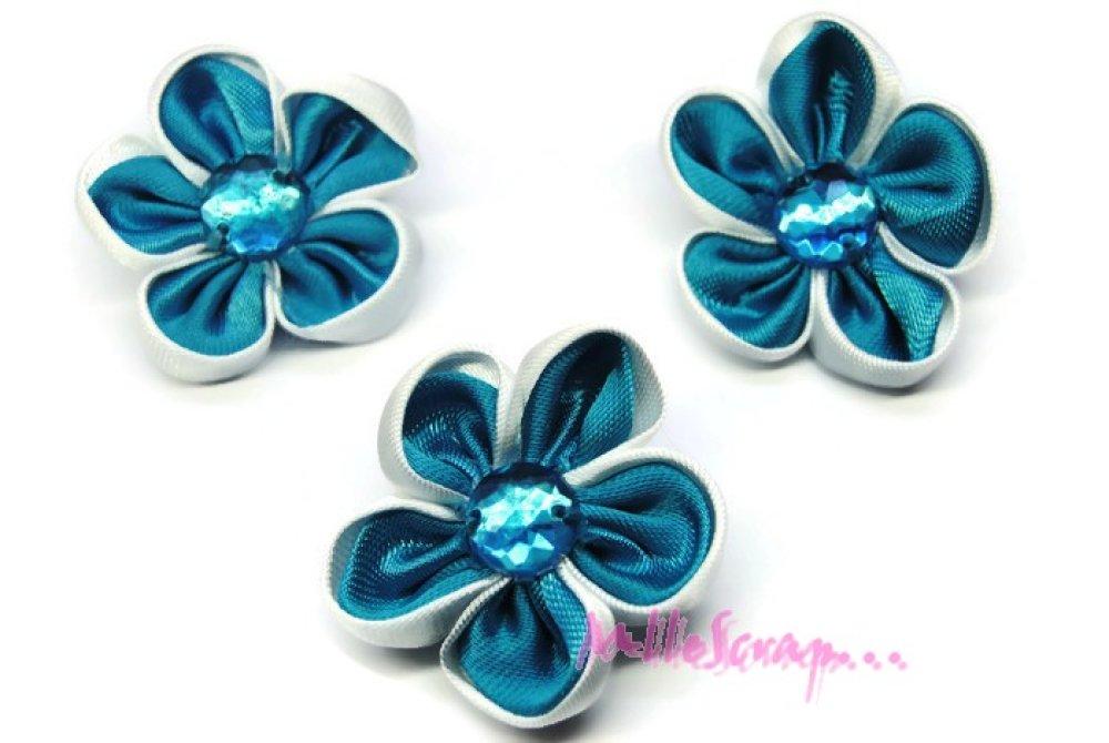 *Lot de 3 fleurs tissu strass bleu embellissement scrapbooking