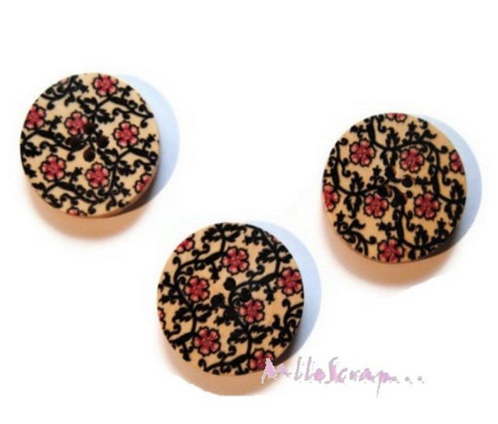 *Lot de 5 gros boutons bois décorés 30mm embellissement scrapbooking* .