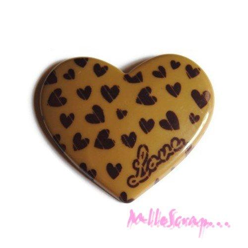 *grand coeur marron love résine embellissement scrapbooking x 1* .