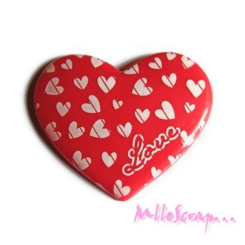 *grand coeur rose foncé love résine embellissement scrapbooking x 1* .