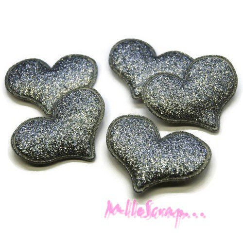 *lot de 5 coeurs argenté tissu effet glitter embellissement scrapbooking(réf.310)*