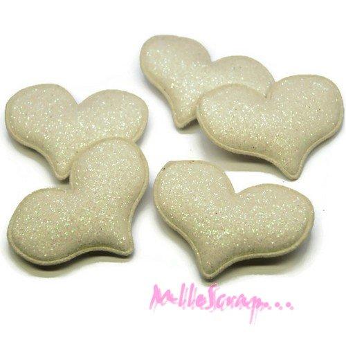 *lot de 5 coeurs blanc tissu effet glitter embellissement scrapbooking(réf.310).*