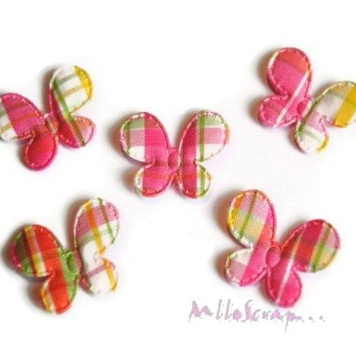 *lot de 5 petits papillons multicolores tissu embellissement scrapbooking(réf.310)*