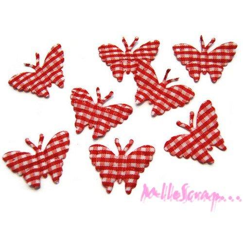 *lot de 8 papillons rouge vichy embellissement scrapbooking (réf.310).*