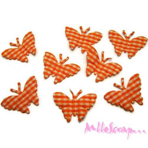 *lot de 8 papillons orange vichy embellissement scrapbooking (réf.310).*
