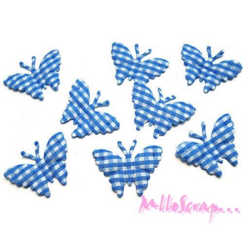 *lot de 8 papillons bleu vichy embellissement scrapbooking (réf.310).*