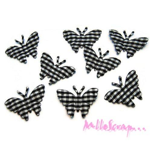 *lot de 8 papillons noir vichy embellissement scrapbooking (réf.310).*