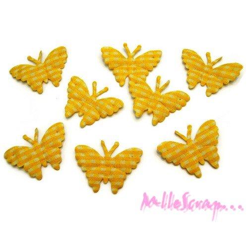 *lot de 8 papillons jaune vichy embellissement scrapbooking (réf.310).*