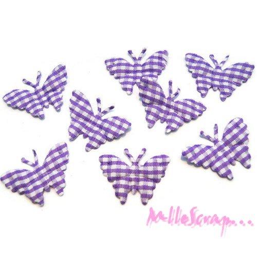 *lot de 8 papillons violet vichy embellissement scrapbooking (réf.310).*